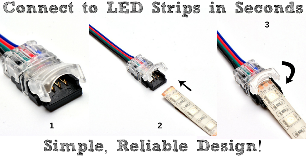 Easy clip on connectors for LED strips