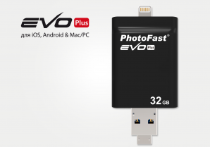 Флешка PhotoFast i-FlashDrive EVO Plus 64 GB с Lightning, MicroUSB и USB 3.0